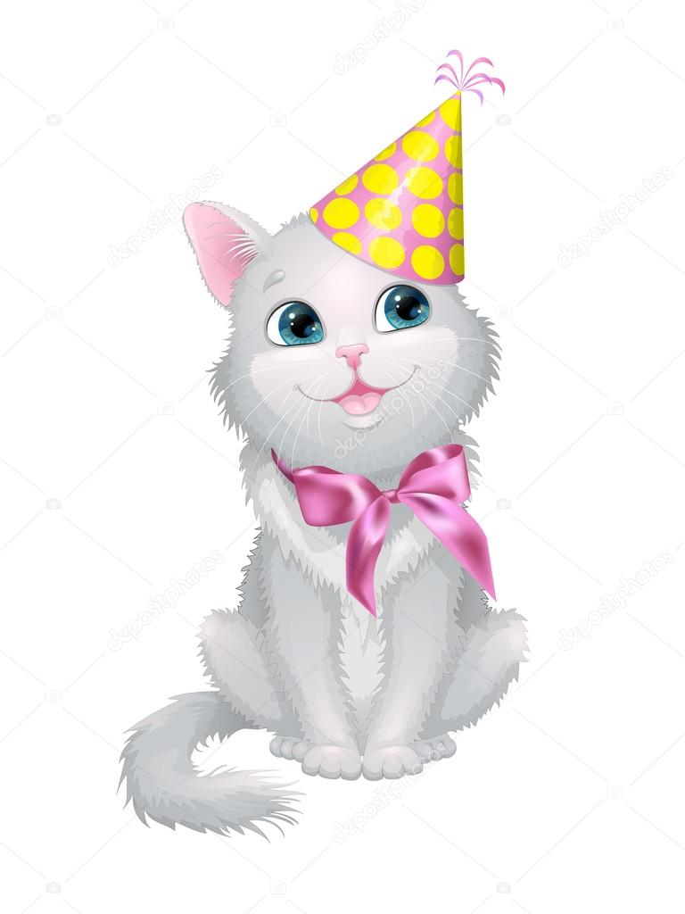 Illustration On White Background Cat In Birthday Cap With A Bow Stock Vector