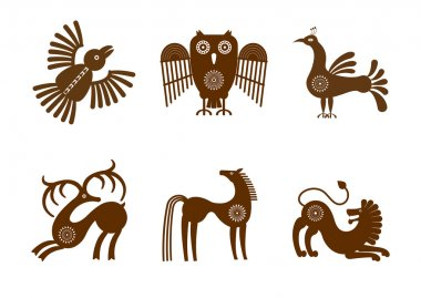 Set of stylized graphic images of animals in tribal style.