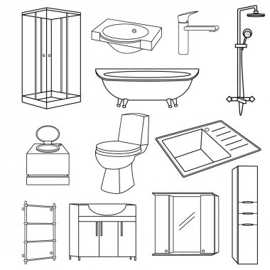 Set transparent outline icons of sanitary ware for the bathroom of the toilet and kitchen. Vector items mirror, kitchen sink, shower, washbasin, bath, faucet, panel, portable toilet, kitchen sink.