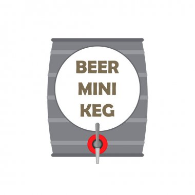 Silver metal beer mini keg with tap. Vector clipart. Illustration n blank white background. icon