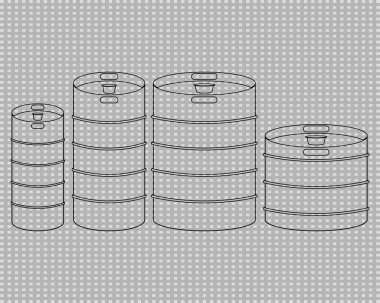 Metal beer kegs vector clipart. Icons set. Black and white outline and transparent illustrations n transparent background. Various types. icon