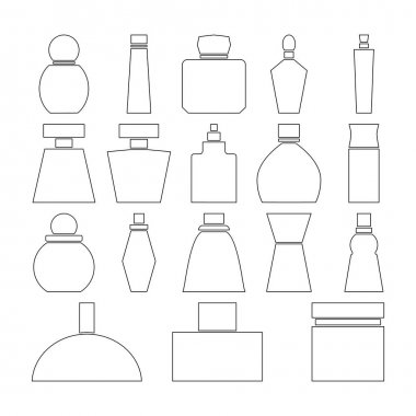 Set of perfume bottles icons. Linear and outline vector icons. Clipart and drawing on white background. icon