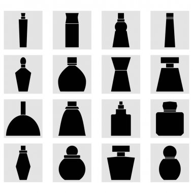 Set of perfume bottles square icons. Black silhouettes. Clipart and drawing on white background. icon
