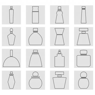 Set of perfume bottles square icons. Linear and outline vector icons. Clipart and drawing on white background. icon