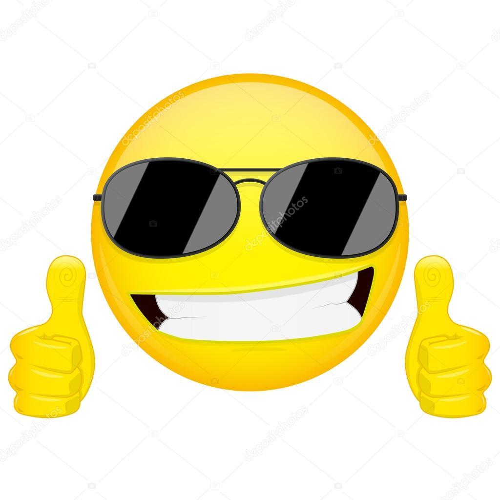Buena idea emoji pulgares para arriba de emoci n cool - Emoticono gafas de sol ...
