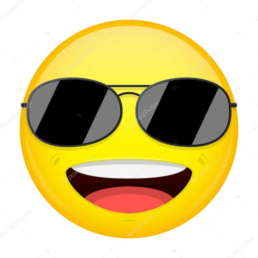 happy emoji smirk emotion cool guy with sunglasses emoticon