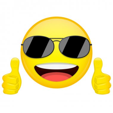 Good idea emoji. Thumbs up emotion. Cool guy with sunglasses emoticon. Vector illustration smile icon.
