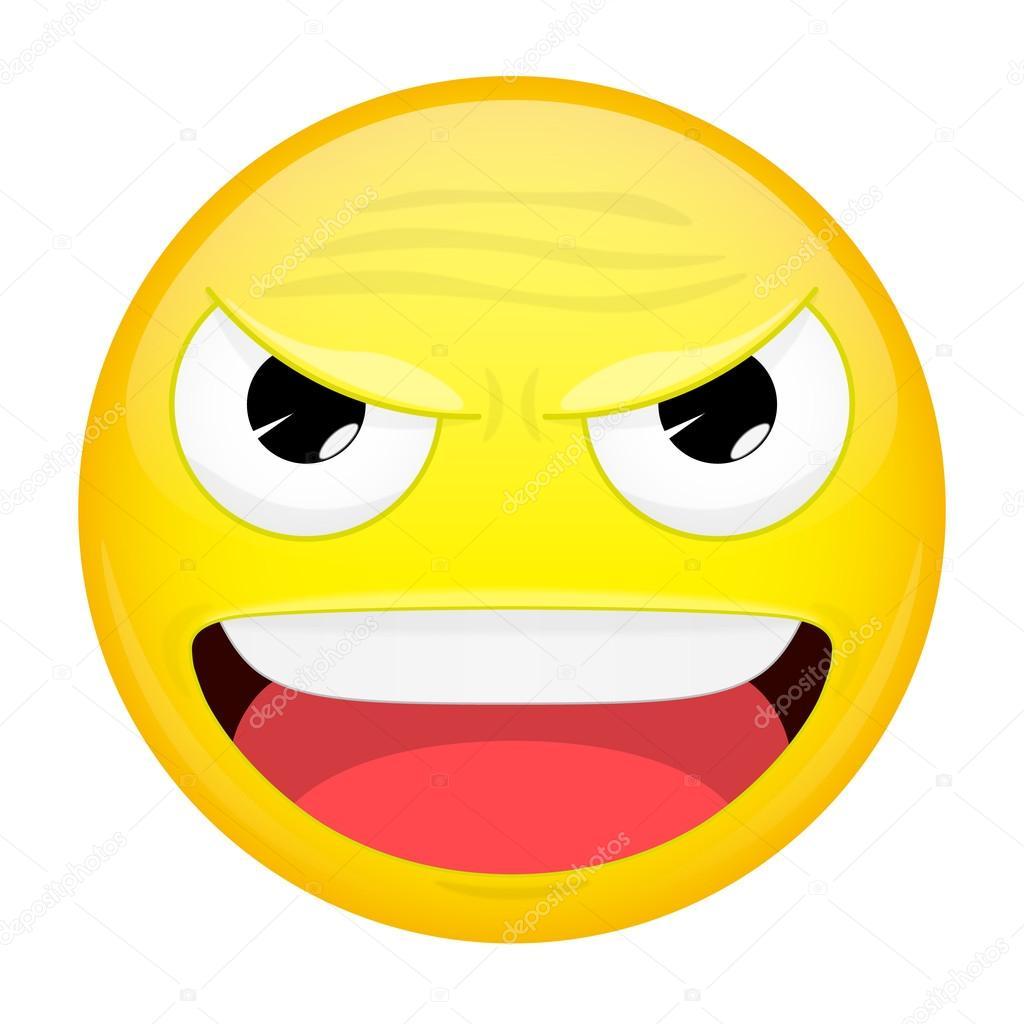 evil emoji happy emotion laugh emoticon vector illustration smile