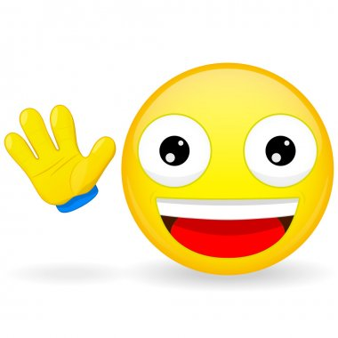 Hello emoticon. Emoticon waves his hand. Joyful emoticon. Pleased emoji. Happy emotion. Vector illustration smile icon.