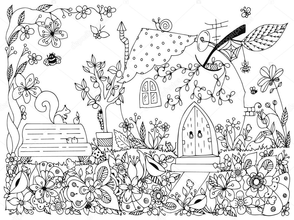 Nature Parks. Fairy tale illustration an apple in the form house. Vector zentangl, garden,  spring bench, tree with apples, flowers,  swing, doodle, zenart, dudling. Coloring anti stress adults. Black