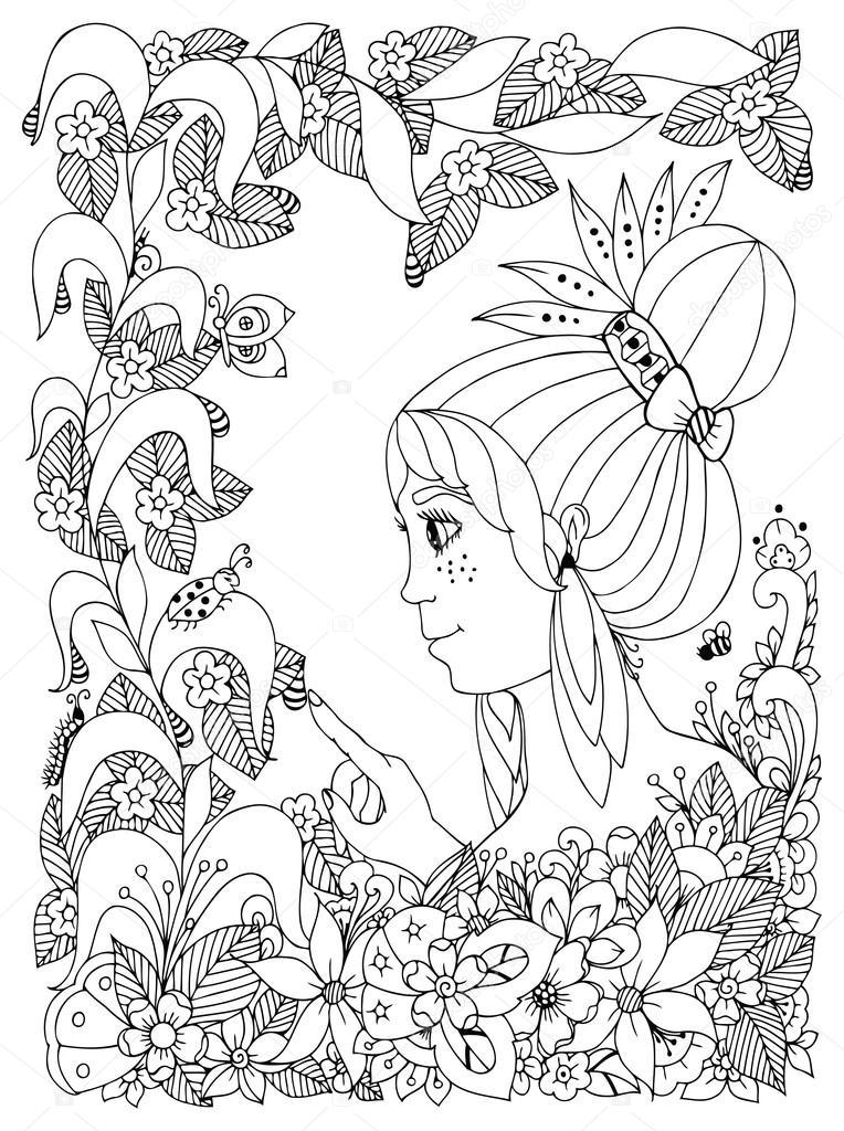 Coloriage Printemps Coccinelle.Vector Illustration Zentangl Petites Filles Avec Des Taches De