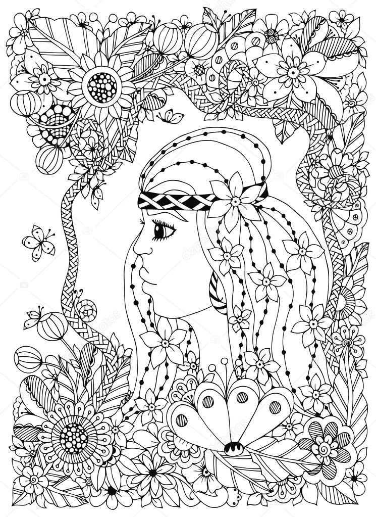 Vector Illustration Zen Tangle Portrait Of A Woman In Flower Frame Doodle Flowers Forest Garden Coloring Book Anti Stress For Adults Page