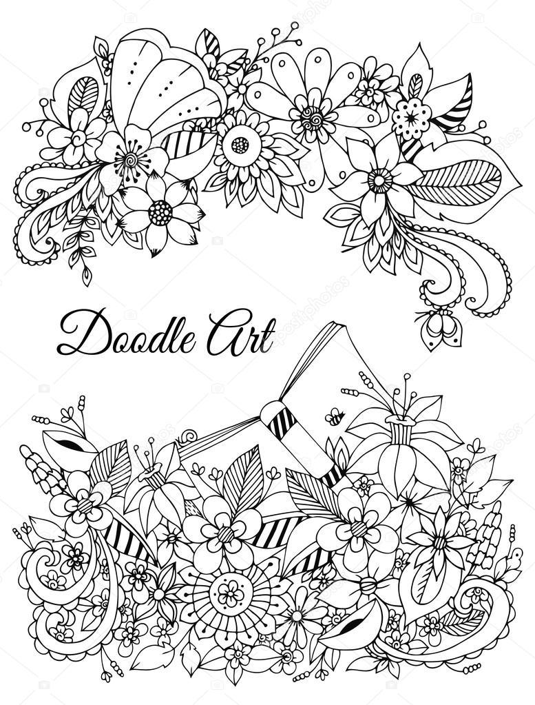 Illustrazione di groviglio di zen cornice floreale - Libri da colorare di fiori ...