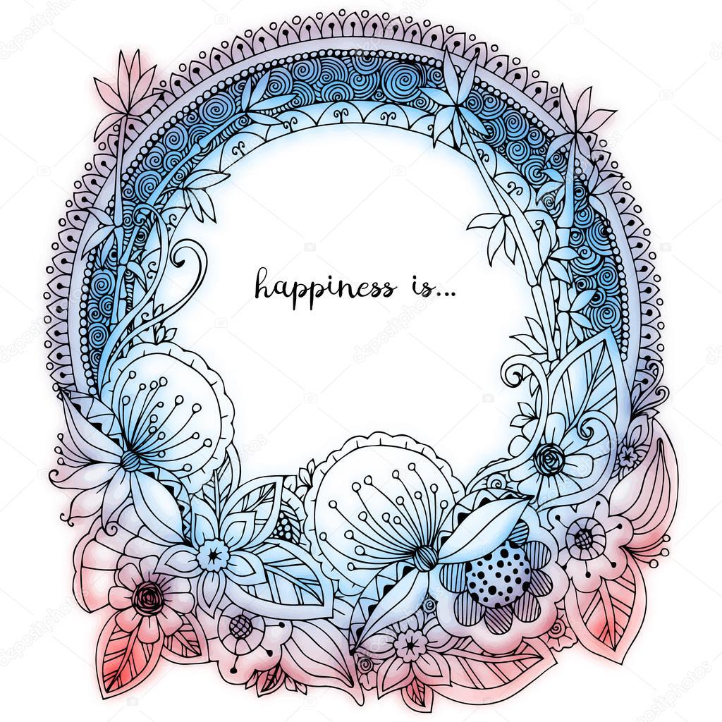Mandala Kleurplaten Voor Volwassenen Bloemen.Vector Illustratie Zen Wirwar Doodle Ronde Frame Met Bloemen