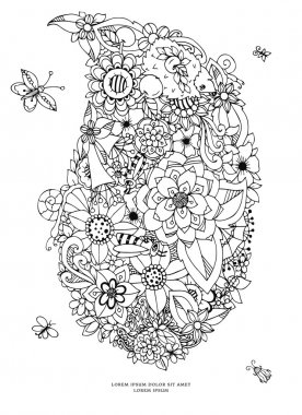 Vector illustration zentangl card with flowers. Doodle flowers, spring, jewelry, wedding. Coloring book anti stress for adults. Black white.