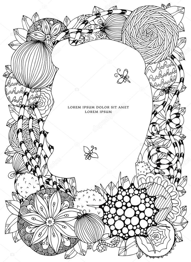 Vektor-Illustration Blumenrahmen Zen Gewirr. Dudlart. Malbuch für ...