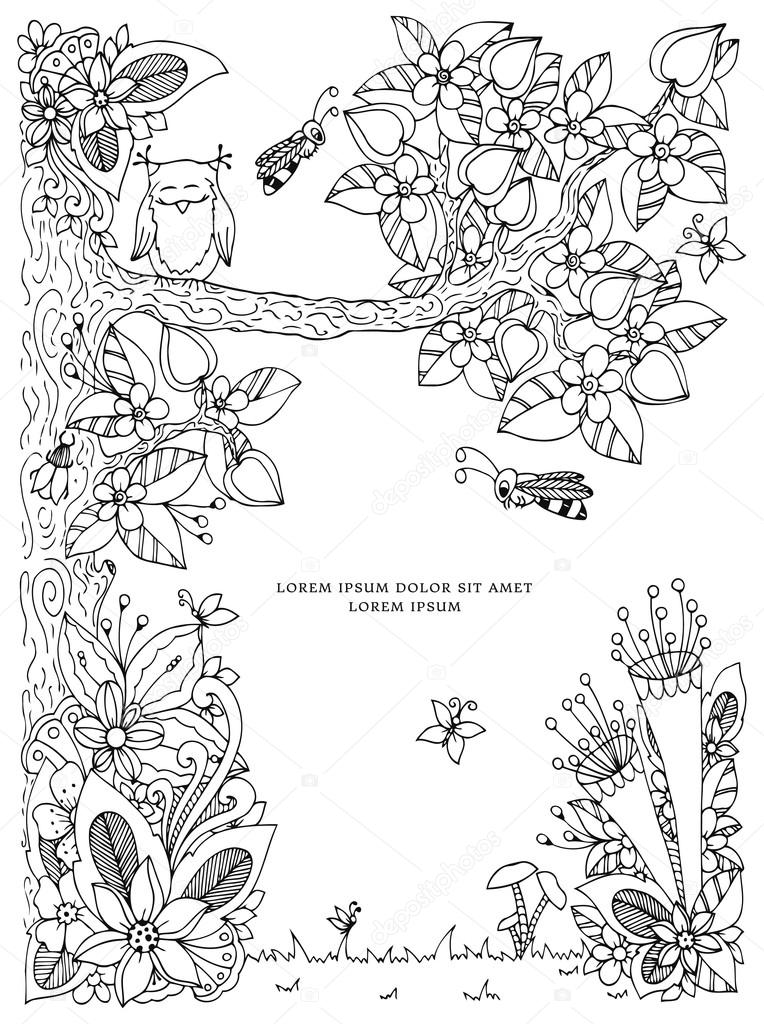 Vector Illustration Frame With Flowers Zen Tangl Tree Dudlart Coloring Book Anti Stress For