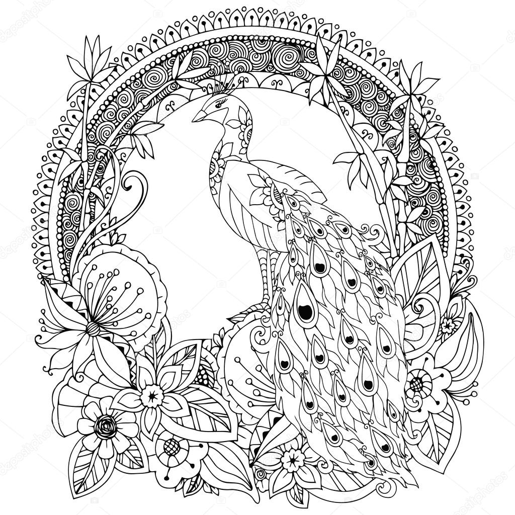 Vector illustration Zen Tangle, peacock and flowers. Doodle drawing. Coloring book anti stress for adults. Black white.