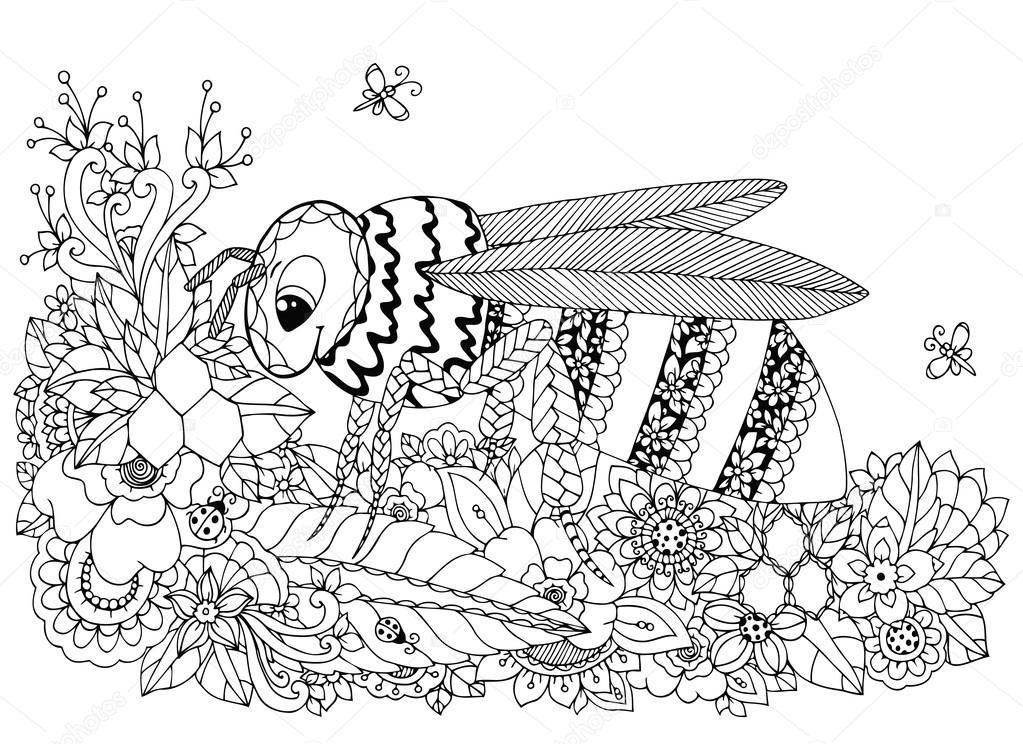 Vector illustration Zen Tangle, wasp and flowers. Doodle drawing. Coloring book anti stress for adults. Black white.
