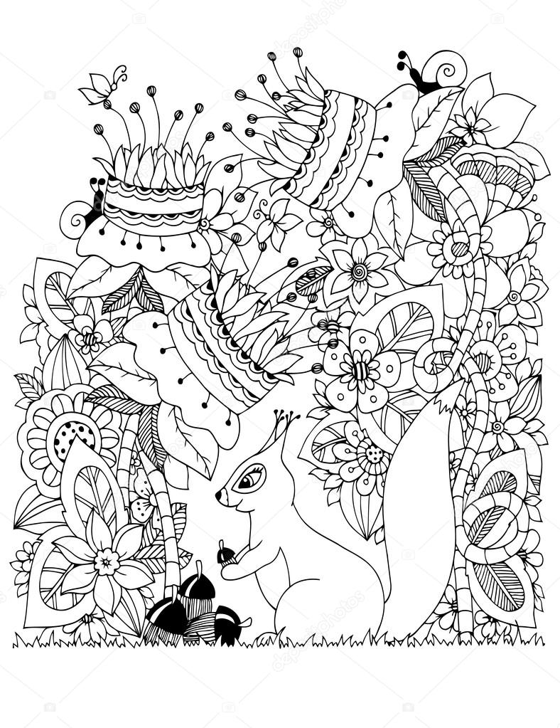 Zen coloring flowers - Vector Illustration Zen Tangle Squirrel With Acorn Sitting In Flowers Doodle Drawing Coloring
