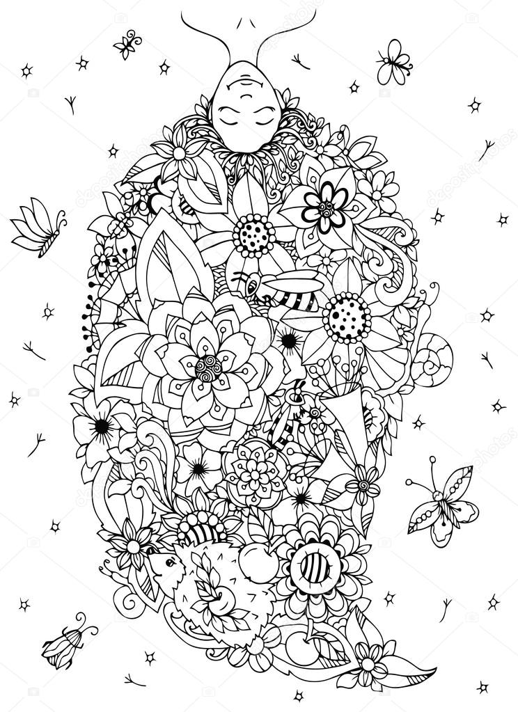 Vector Fille Zen Tangle Illustration 224 L Envers Avec Des