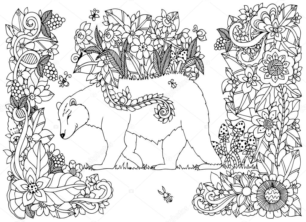 Vector illustration Zen Tangle bear with flowers. Doodle drawing floral frame. Coloring book anti stress for adults. Black white.
