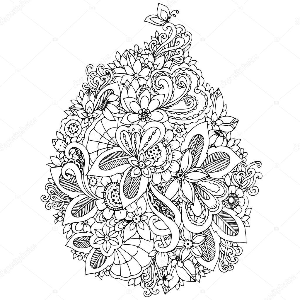 Vector Illustration Zentangl Karte mit Blumen. Doodle, Hochzeit ...