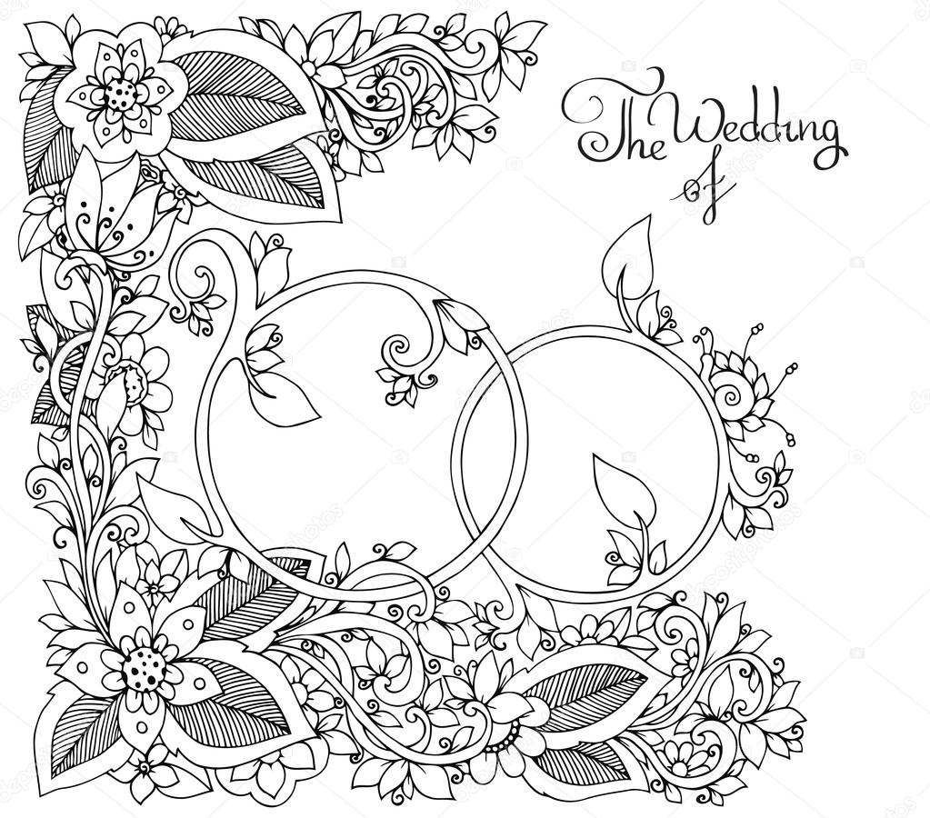 Vector illustration Zen Tangle Wedding rings in flowers. Doodle drawing, floral. Coloring book anti stress for adults. Black white.