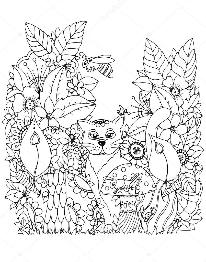 Vector Illustration Zen Tangd Cat Sitting In The Flowers Doodle Drawing Mushrooms Coloring Book Anti Stress For Adults Black And White