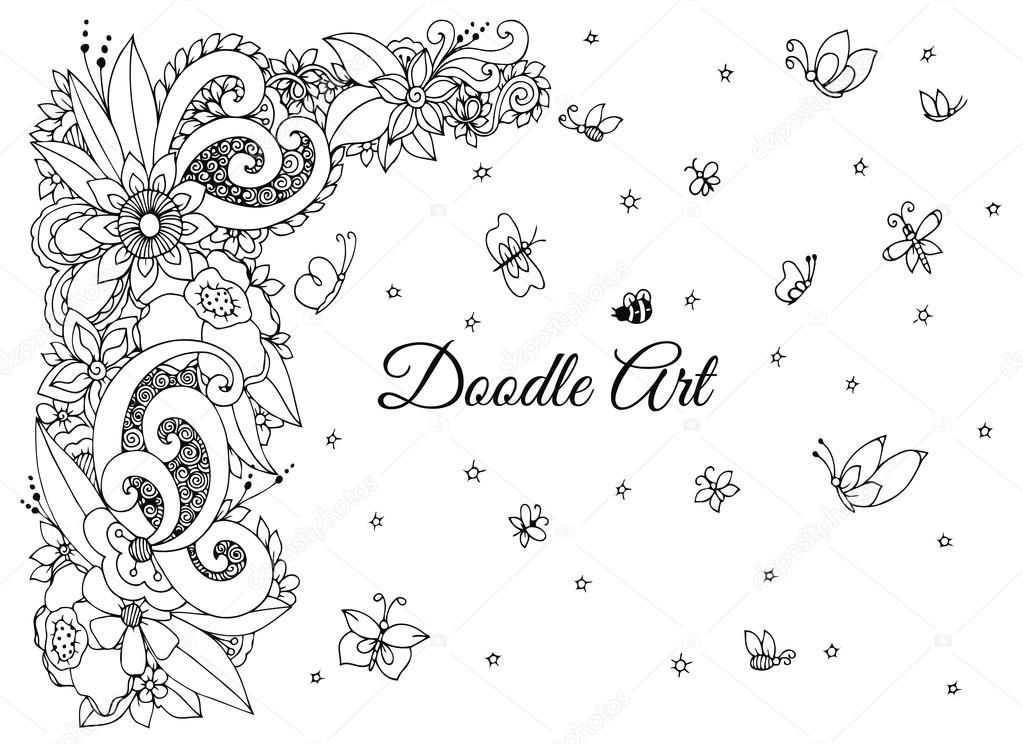 çerçeve çiçek Zen Dolaştırmak Vektör Illustration Dudlart Boyama