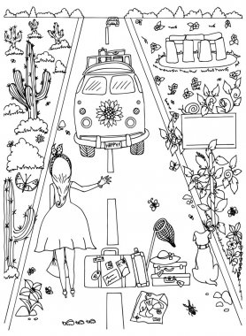 Vector illustration Zen Tangle, girl and dog travel. Doodle drawing. Coloring book anti stress for adults. Black white.