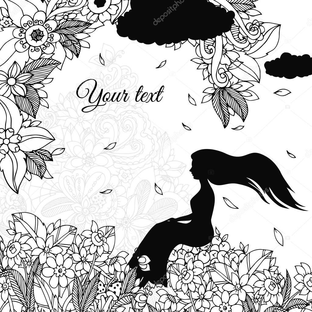 Vector Illustration Zen Tangle Girl Sitting On Apples Is Rain Doodle Flowers Coloring Book Anti Stress For Adults Black And White By Tanvetka