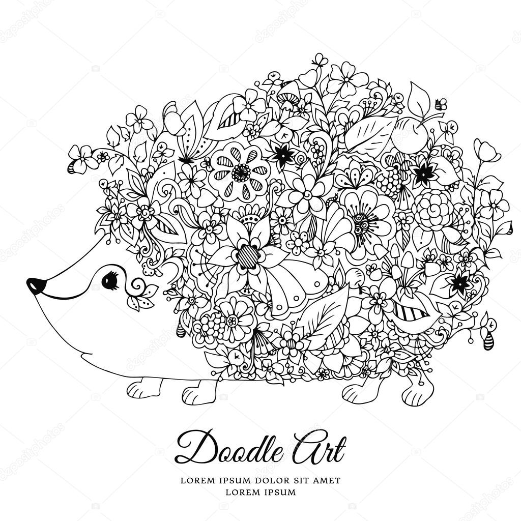 Vector illustration zentangl hedgehog with flowers. Doodle animal, forest, nature, puddle. Coloring book anti stress for adults. Black and white.