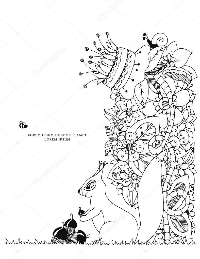 Vector illustration Zen Tangle écureuil avec gland assis dans les fleurs Doodle de dessin Livre  colorier anti stress
