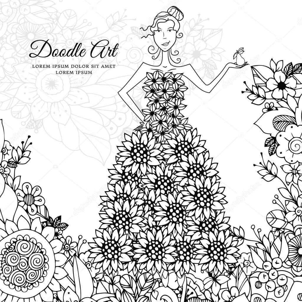 Chica con un vestido floral en Vector ilustración Zen maraña. Doodle ...