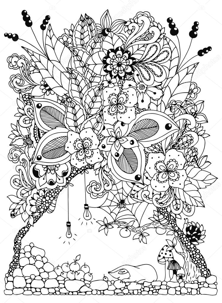 Vector Illustration Zentangl A Mole In Burrow With Flowers Doodle Drawing Coloring Book