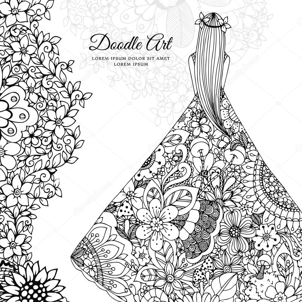 Vector illustration Zen Tangle girl in a floral dress. Doodle flowers, tree. Coloring book antis stress for adults. Black white.