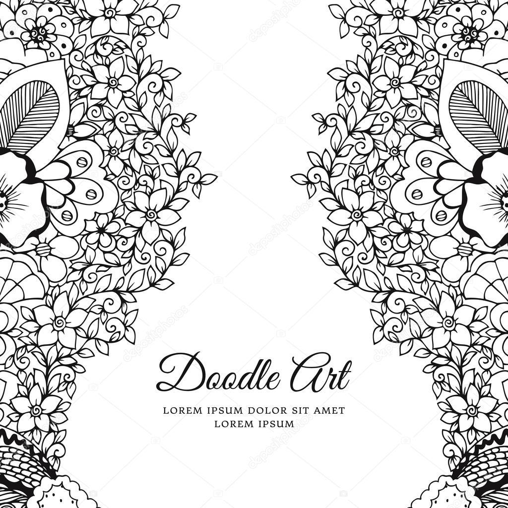 Векторная иллюстрация цветочной рамки Zen Tangle. Дадларт ...