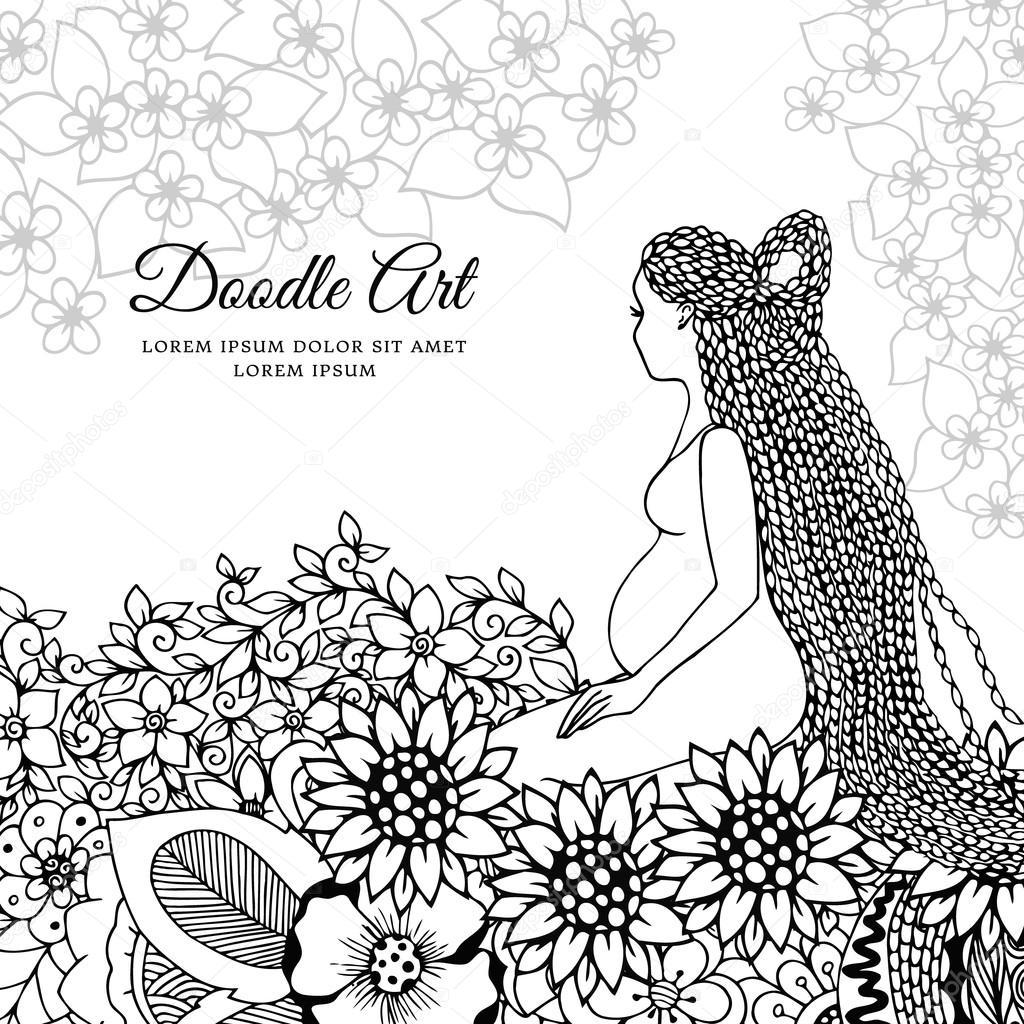 Vector Illustration Zen Fouillis Une Femme Enceinte Assis