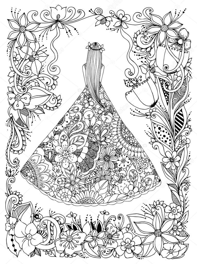 Coloriage Fleur Zen.Vector Illustration Zen Tangle Fille Dans Une Robe A Fleurs Doodle