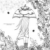 Photo Vector illustration Zen Tangle, a girl with an umbrella in the park. Doodle drawing. Coloring book anti stress for adults. Black white.