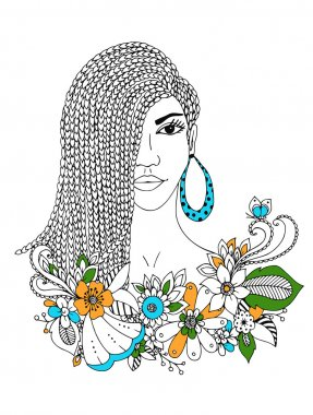 Vector illustration zentangl portrait  African American woman, mulatto, Negro. Doodle floral frame,  braids, coloring book anti stress for adults. Black and white.