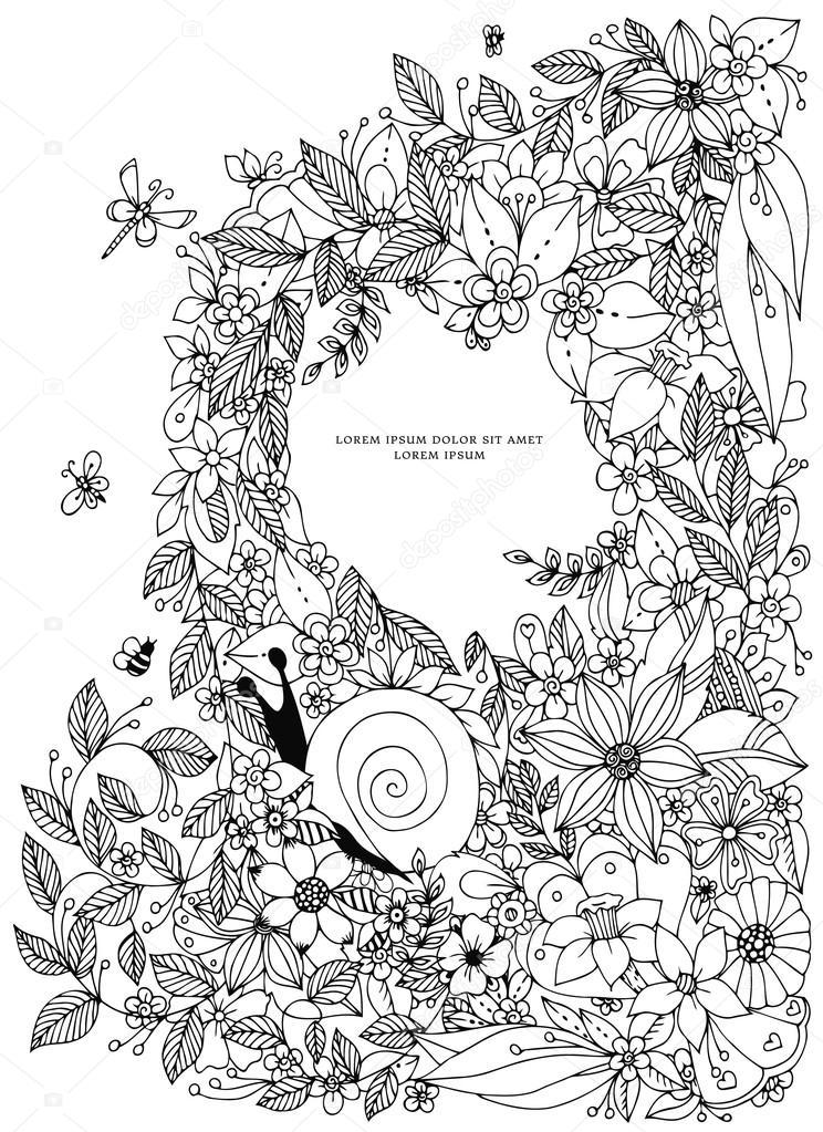 Marco de frontera de concha, patrón del océano. Ilustración vintage ...