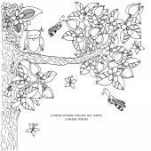 4534f311ad73 Fotografie Vektorové ilustrace rám s květy zen tangl strom. Dudlart.  Omalovánky se proti stresu
