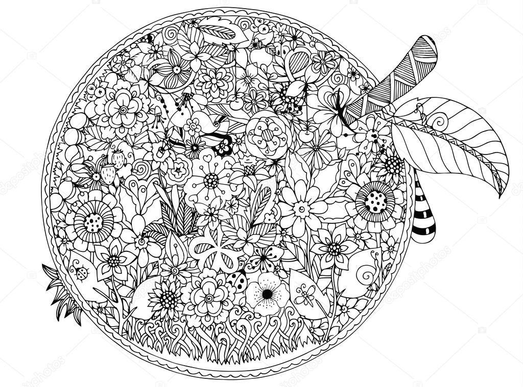 Vector Illustration Apple Flowers Doodle Drawing Coloring Book