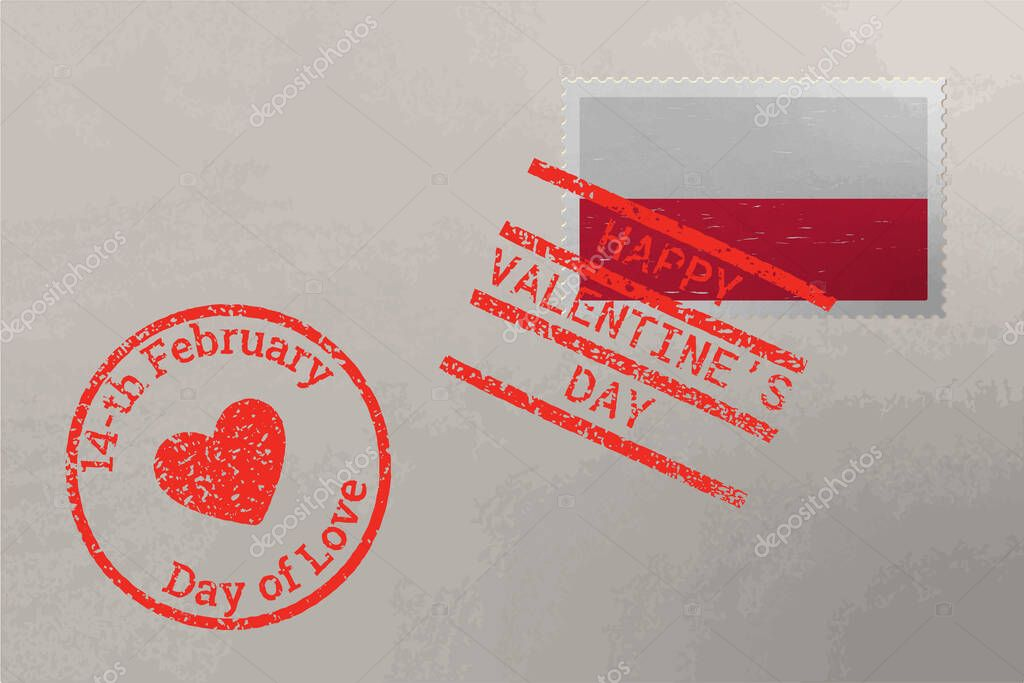 Postage stamp envelope with Poland flag and Valentine s Day stamps  vector icon
