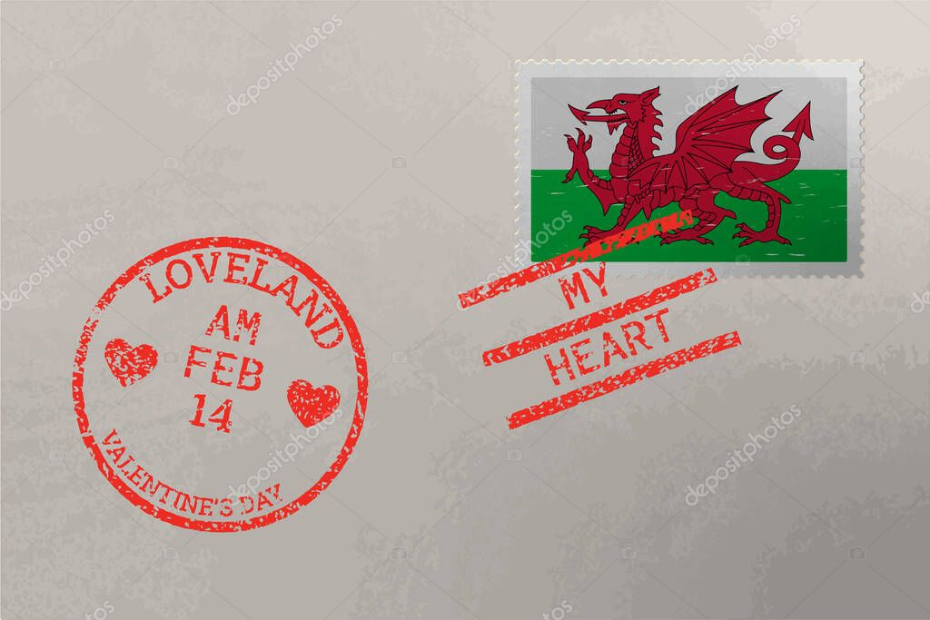 Postage stamp envelope with Wales flag and Valentine s Day stamps  vector icon