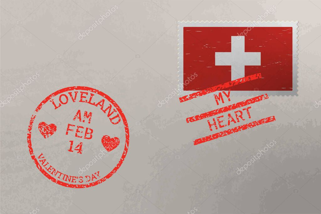 Postage stamp envelope with Switzerland flag and Valentine s Day stamps  vector icon