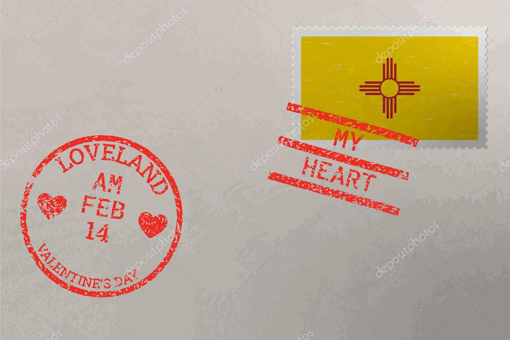 Postage stamp envelope with New Mexico US flag and Valentine s Day stamps  vector icon