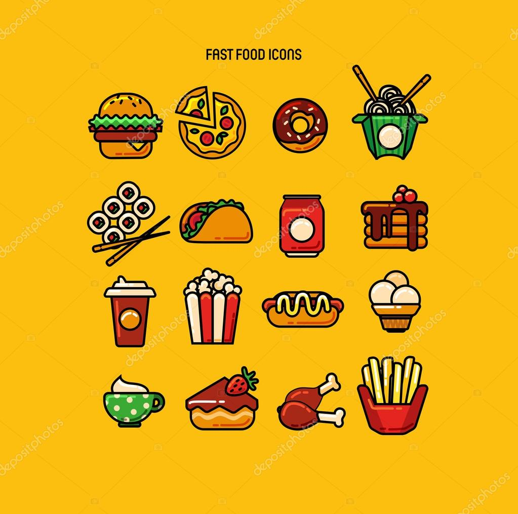 Set Of 16 Fast Food Color Icons Stock Vector C Cyanart